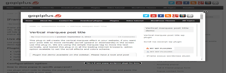 iframe popup – WordPress Iframe Plugin
