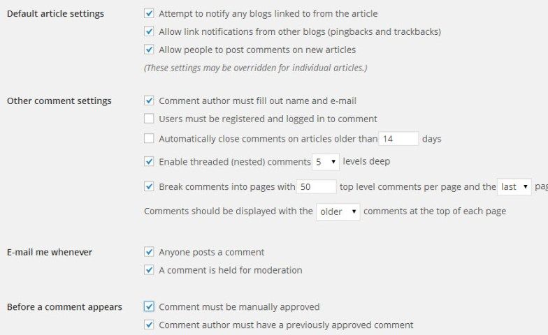 WordPress Comment setting