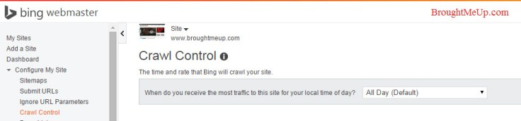crawl control in bing webmaster tools