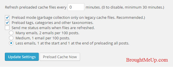 WP super cache preload setting