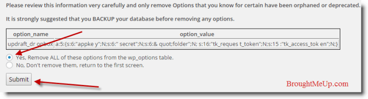submit options to optimize database