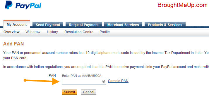 provide pan for PayPal verification