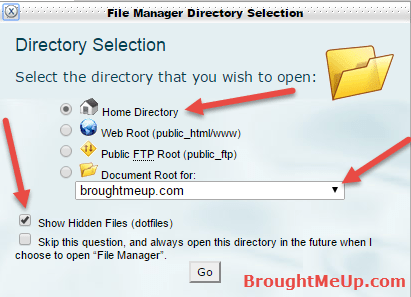 show hidden files .htaccess cpanel