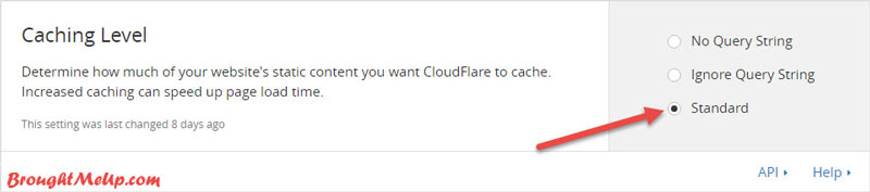 cloudflare caching level setup