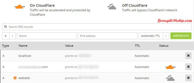 cloudflare dns record for WordPress