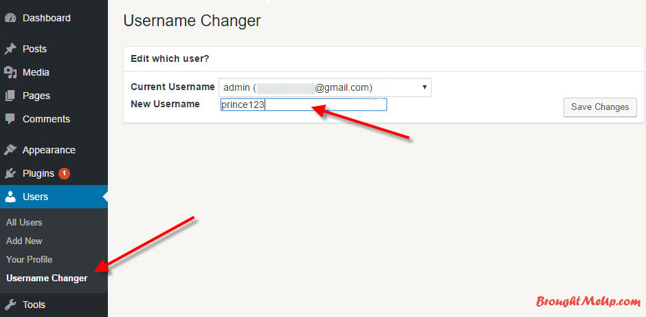 change your wordpress username using username changer plugin