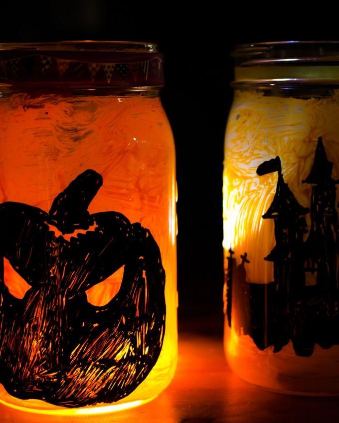 DIY Halloween Mason Jar Lanterns