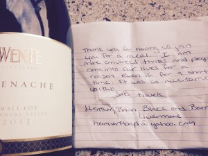 Thank you note, accompanying bottle of wine gift...  Sharing time, dinner and conversation with Heather and Bartlett at Lake Del Valle