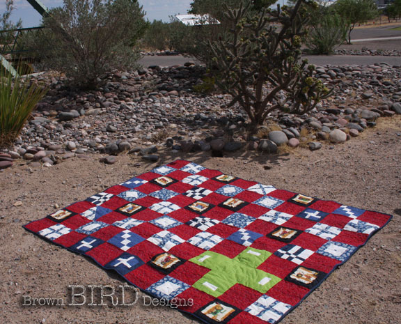Tractor Quilt #3 and cactus
