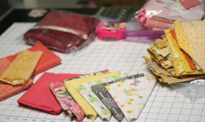 When working on new projects I pull out scrap bags full of one color to make matching colors easy
