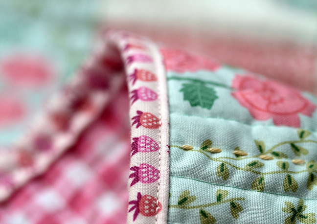 Strawberry Quilt Binding with New Dawn Fabric