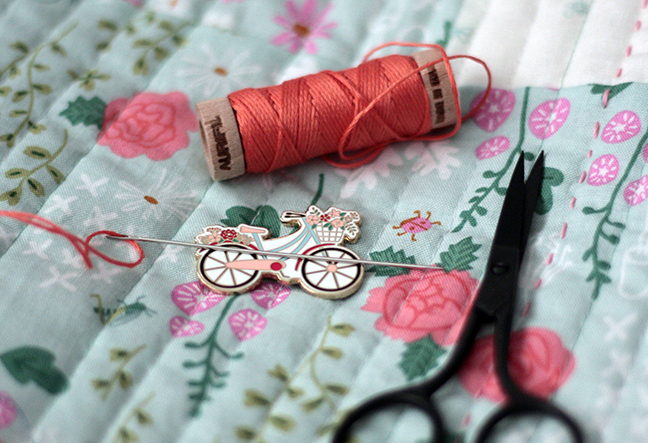 Hand quilting with Aurifil thread