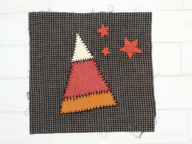 Sugar and Spice Halloween Table Runner - Candy Corn Block