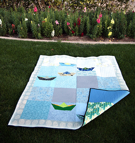 Boat Quilt in blue