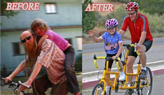 pedalar com uma criança ... antes e depois da KIDZTANDEM