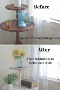 traditional to farmhouse style vintage table makeover