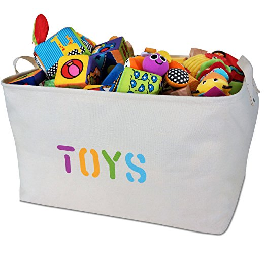 cut clutter and organize toys with storage baskets