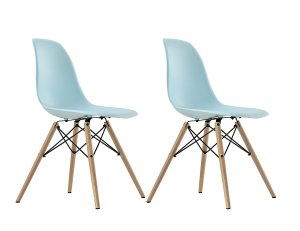 blue plastic chairs set of 2