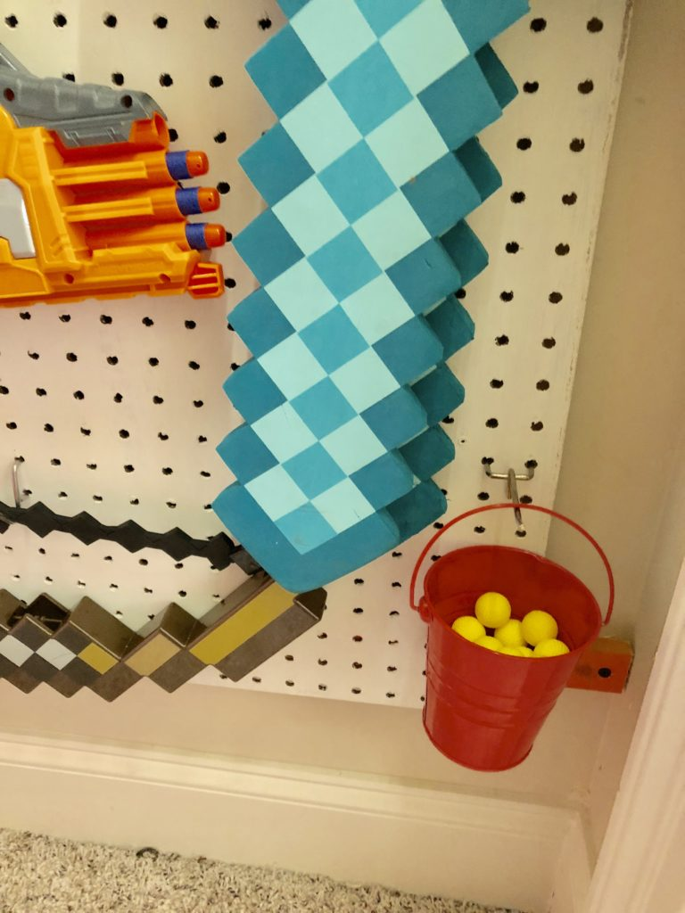 diy nerf gun wall from pegboards