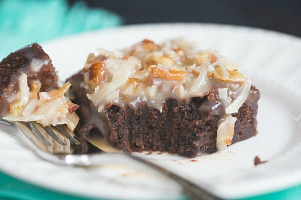 German Chocolate Brownies | browneyedbaker.com #recipe #FathersDay