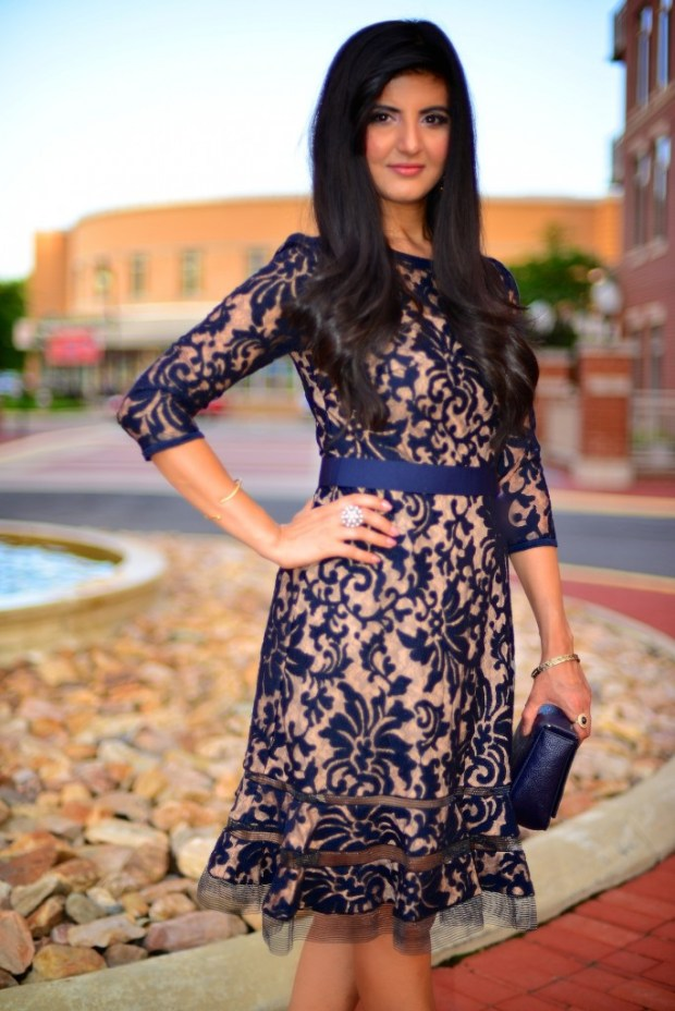Romantic Evening Affair with Sheer Lace Dress -002
