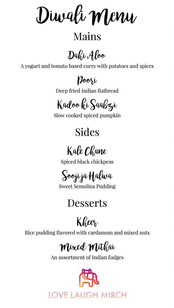 diwali menu