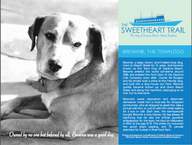 Rough design for future Brownie the Town Dog historical marker.