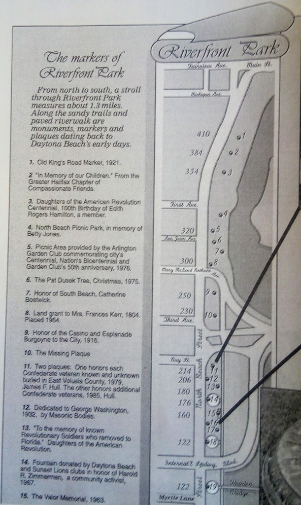 Riverfront Park Daytona Beach Map of historical treasures