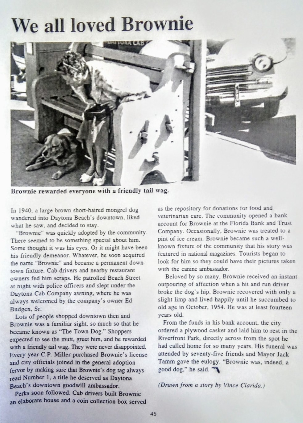 Vince Clarida article on Brownie the Town Dog of Daytona Beach