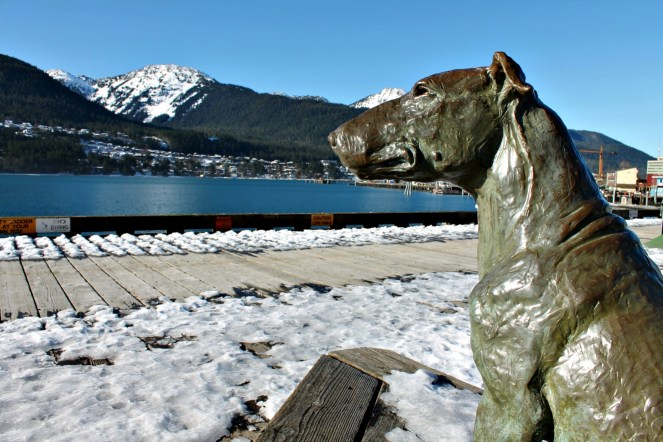 Juneau, Alaska's Patsy Ann statue looks out for incoming ships.
