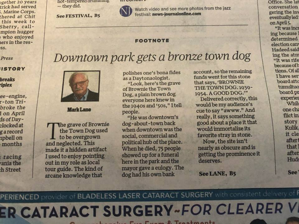 Downtown park gets bronze town dog