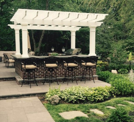 Belmont Fiberglass Pergola Kit Over Outdoor Kitchen Fiberglass Pergola over Outdoor Kitchen  Fiberglass Pergola Kit