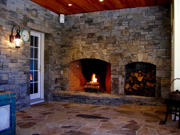 Weathered Granite, Ashlar Style, Arched Fireplace Opening, Woodbox, Raised Flagstone Hearth