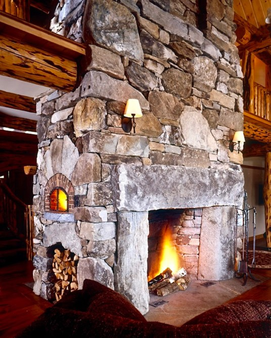 Large Fieldstone, Mixed Ashlar & Veneer, Antique Granite Accents, Side-Woodbox, Flush Hearth