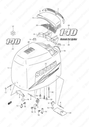 Fig 48A  Engine Cover  2010 to 2011  Suzuki DF 140 Parts Listings  2002 to 2011  SN