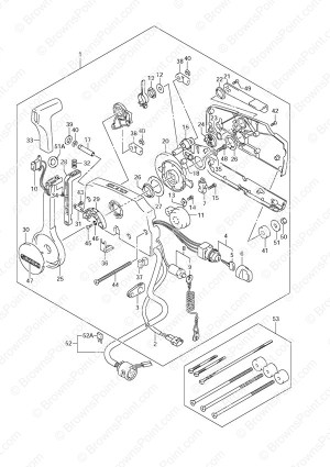 Fig 54  Opt: Remote Control  Suzuki DF 70 Parts Listings  2005 to 2008