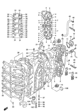 Fig 1  Crankcase  Suzuki DT 140 Parts Listings  1986 to 2001