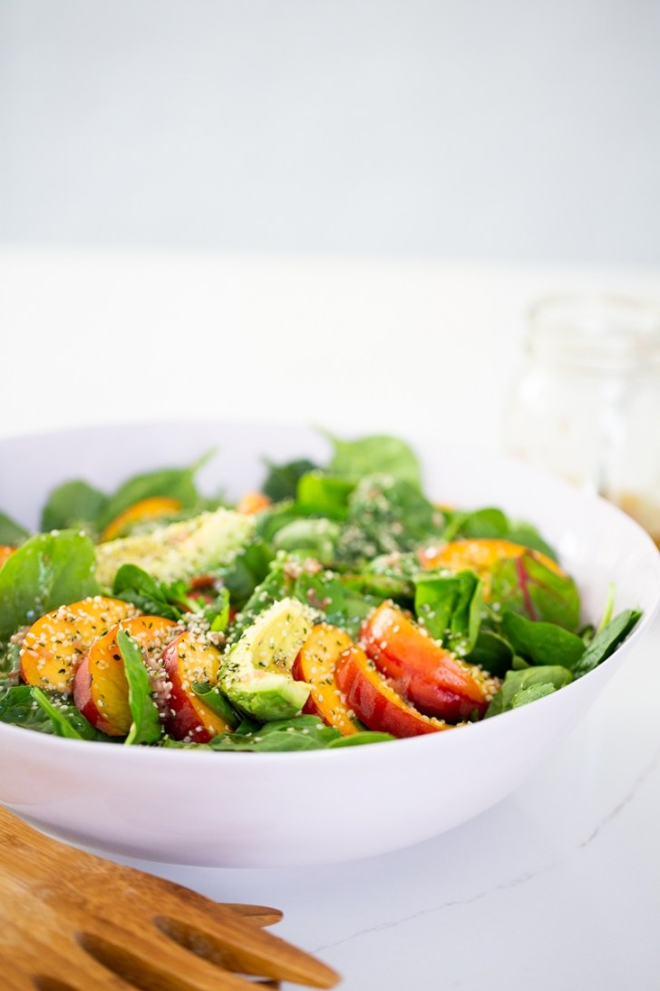 Peach and avocado summer salad