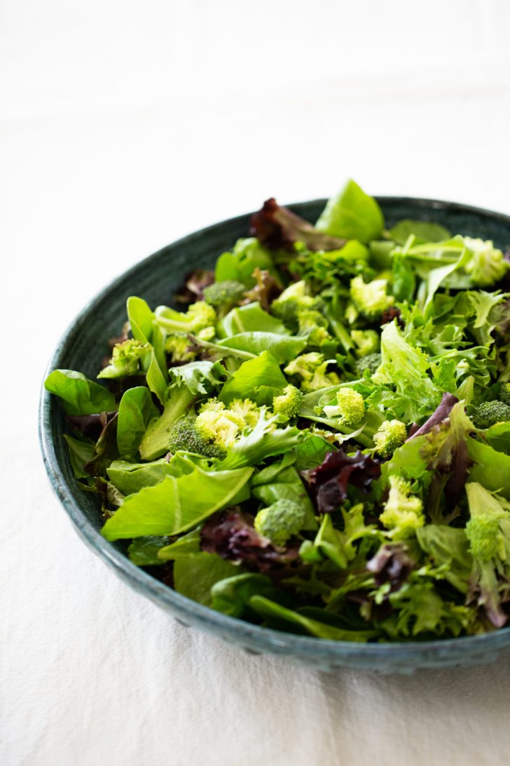 greens and raw broccoli