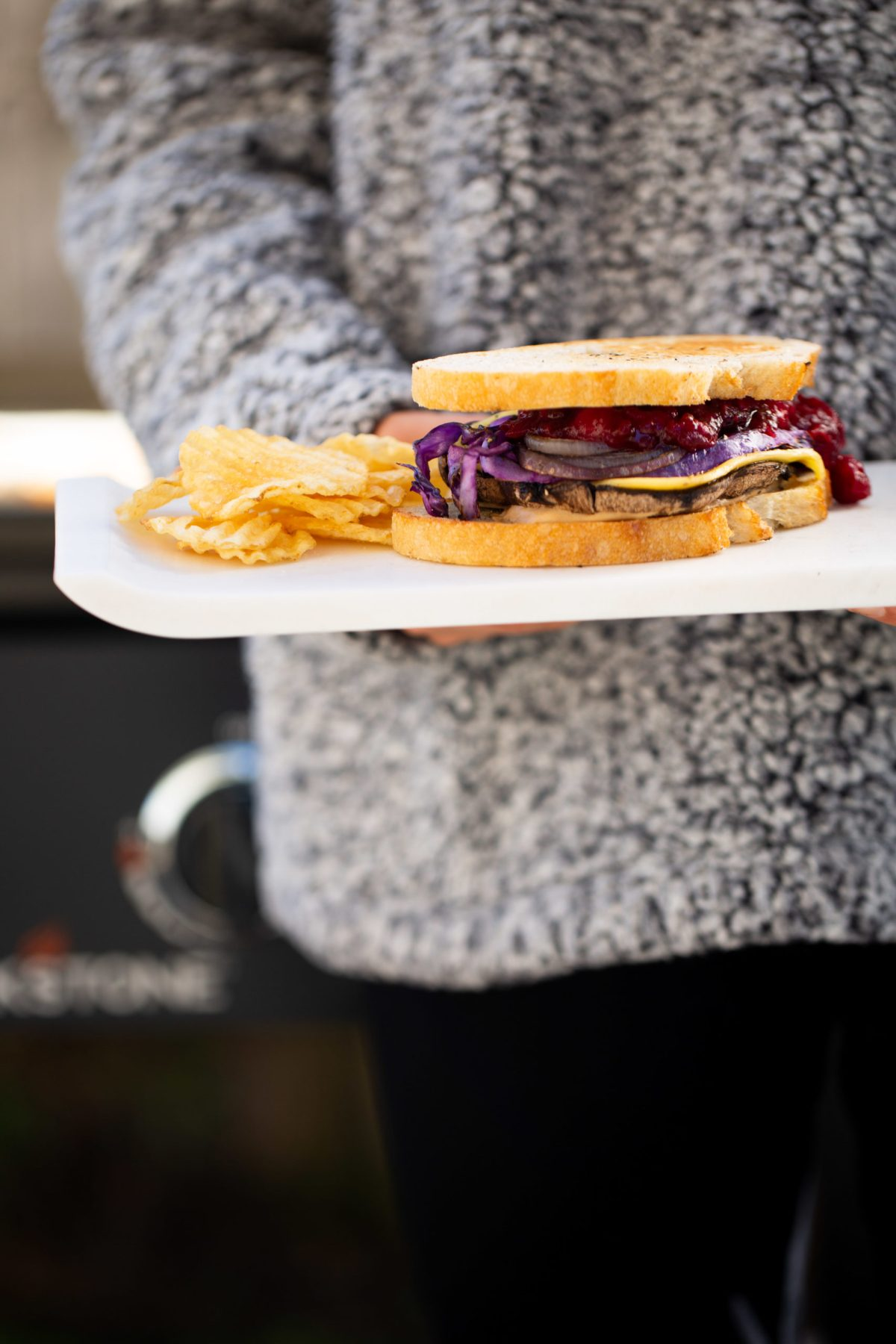 festive grilled vegetable sadwich with cranberry jalapeño jam