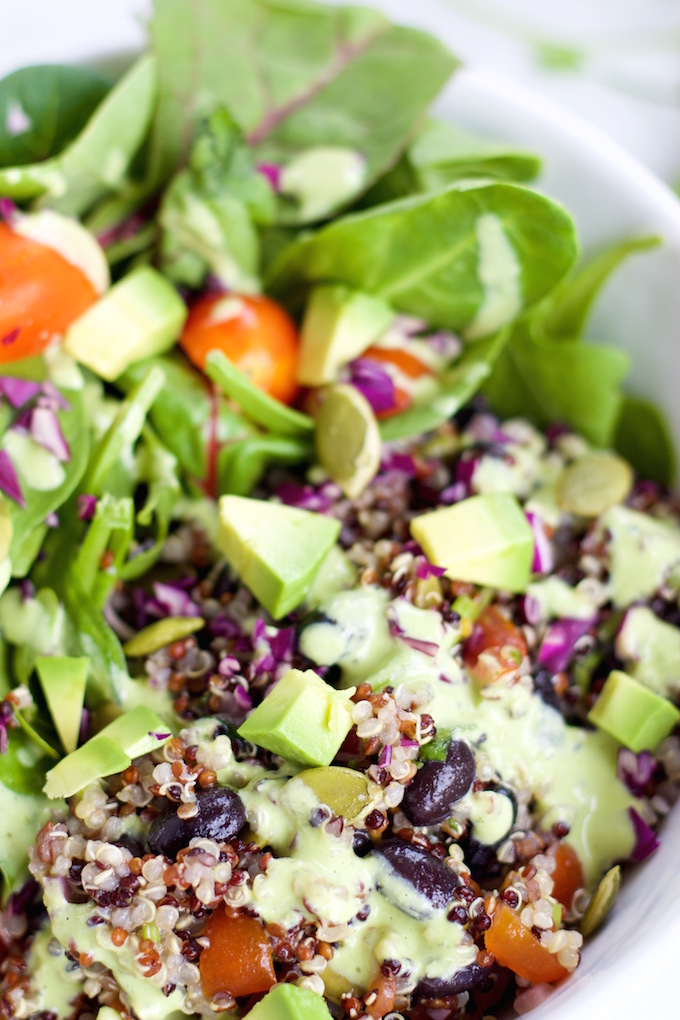 Salad with cilantro mint dressing