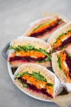 Raw Vegetable sandwich with chipotle-hummus
