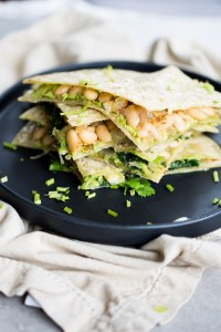 white bean and kale vegan quesadilla