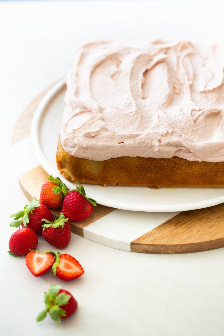 vegan cake with strawberry frosting