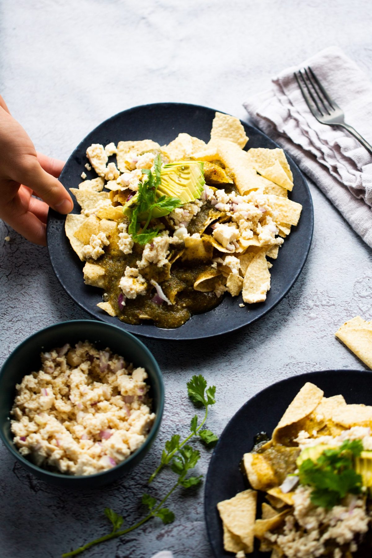 chilaquiles with Chipotle tomatillo sauce
