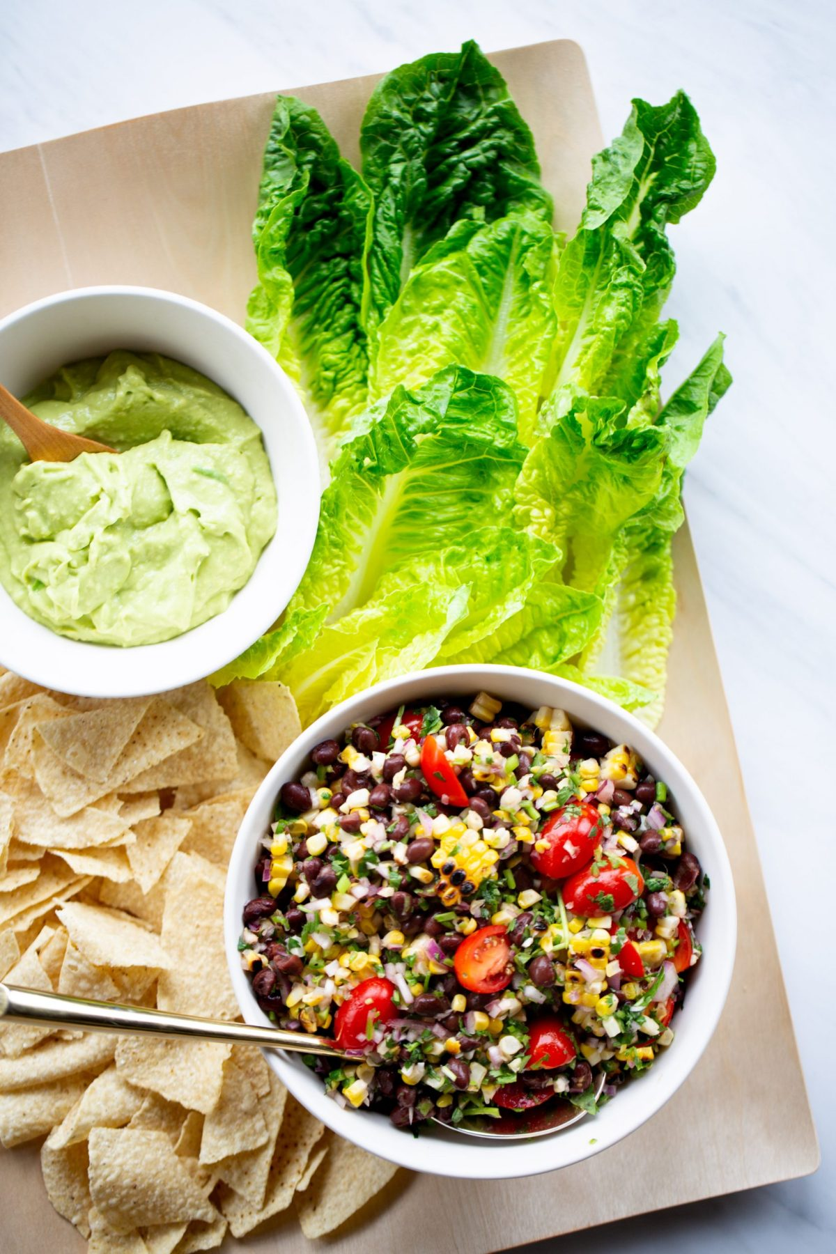 PICO DE GALLO WITH BLACK BEANS, ROASTED CORN & AVOCADO CREMA