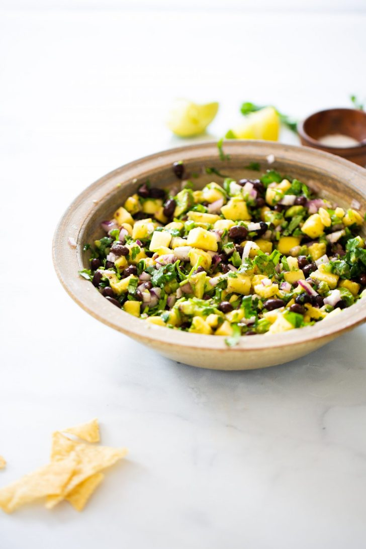 Pineapple salsa with black beans, and avocado