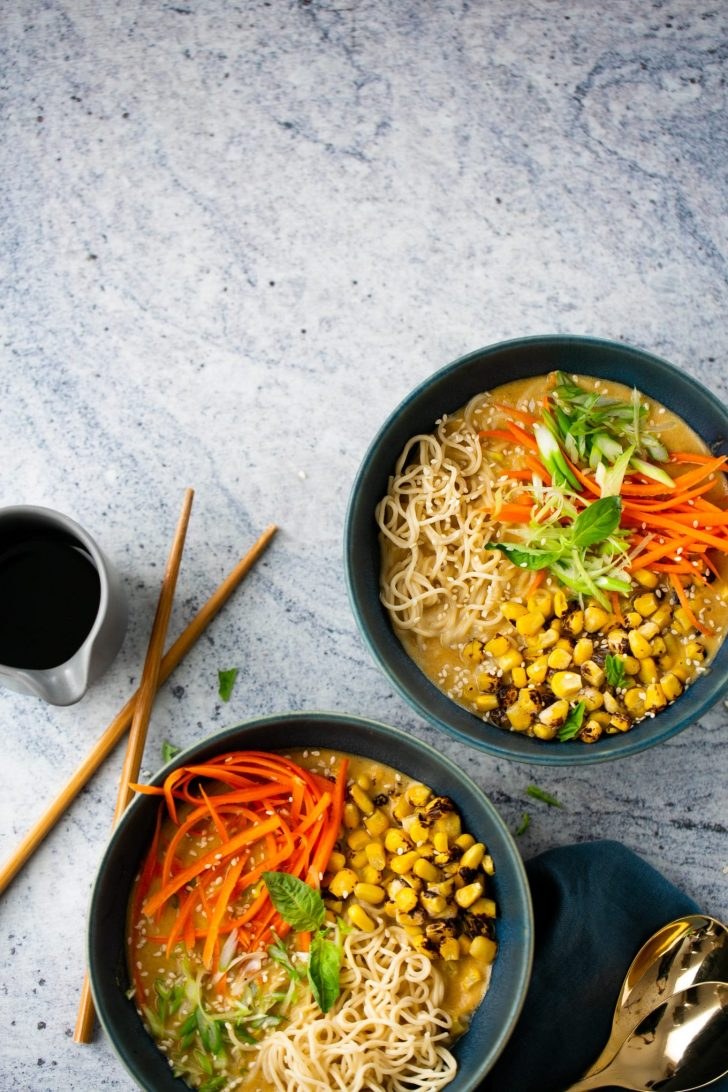 two bowls with homemade vegan ramen