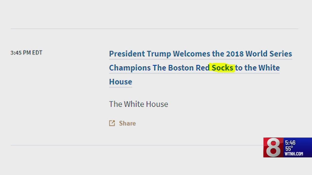 White House website typo plans for visit from Boston Red 'Socks'