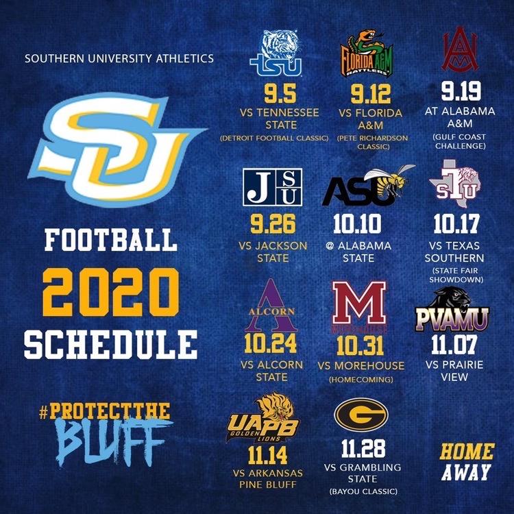 Jaguars 2020 Schedule.Southern Jaguars Release 2020 Football Schedule Brproud